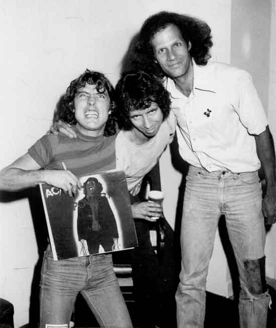Gary Storm with Angus Young and Bon Scott of ACDC